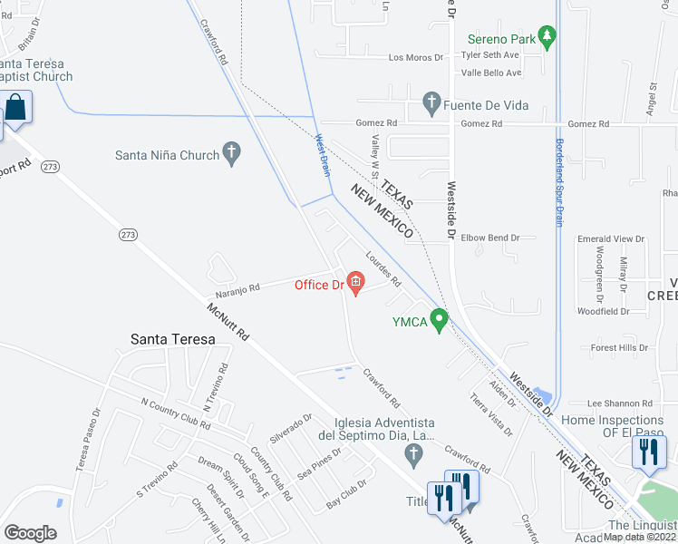 map of restaurants, bars, coffee shops, grocery stores, and more near 6030 Becca Drive in Santa Teresa