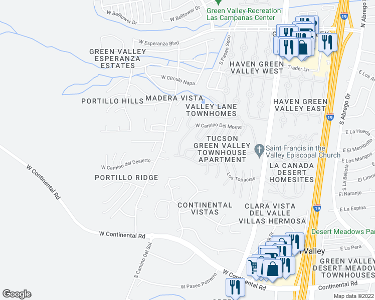 map of restaurants, bars, coffee shops, grocery stores, and more near South Los Corales Circle in Green Valley