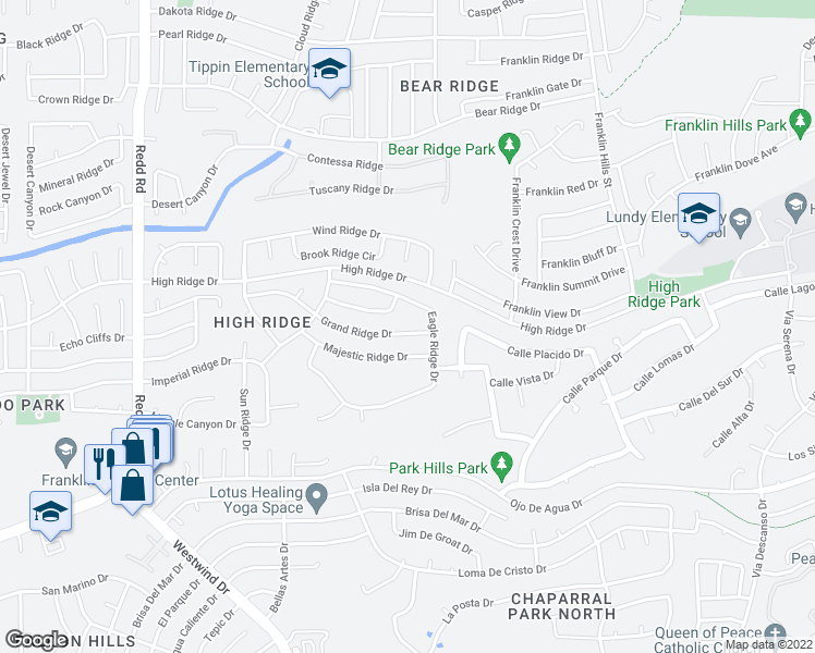 map of restaurants, bars, coffee shops, grocery stores, and more near 6513 Grand Ridge Drive in El Paso