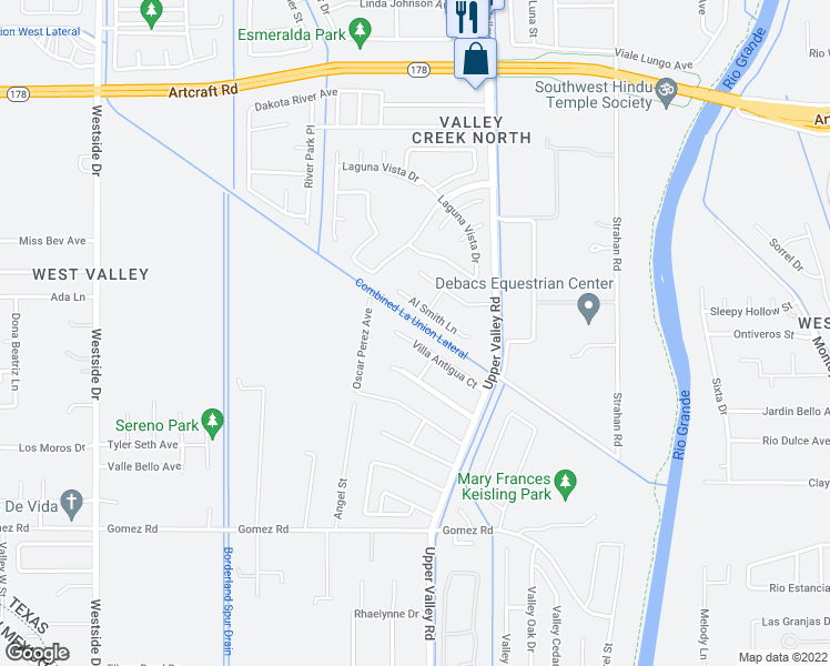 map of restaurants, bars, coffee shops, grocery stores, and more near 741 Villa Antigua Court in El Paso