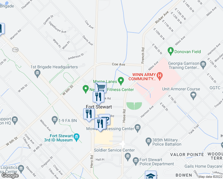 map of restaurants, bars, coffee shops, grocery stores, and more near Steele Avenue in Fort Stewart
