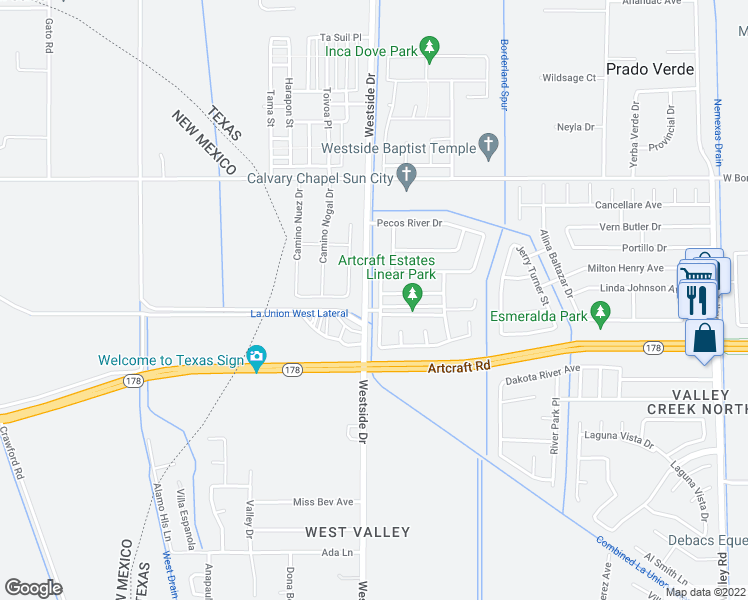 map of restaurants, bars, coffee shops, grocery stores, and more near 6233 Brazos River Street in El Paso