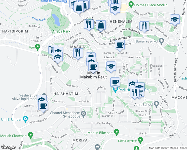 map of restaurants, bars, coffee shops, grocery stores, and more near 21 Nakhal Tsalmon Street in Modi'in-Maccabim-Re'ut