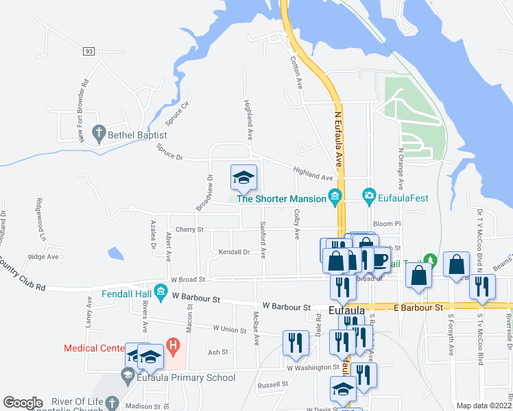 map of restaurants, bars, coffee shops, grocery stores, and more near Malone Street in Eufaula