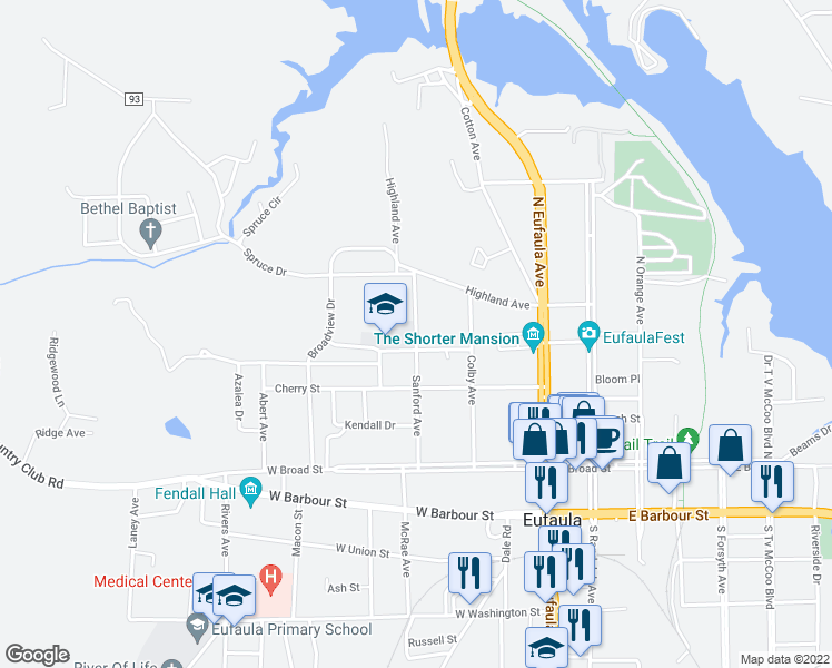 map of restaurants, bars, coffee shops, grocery stores, and more near 400 Sanford Avenue in Eufaula