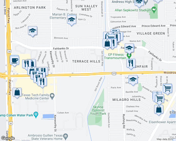 map of restaurants, bars, coffee shops, grocery stores, and more near 10004 Odessa Lane in El Paso