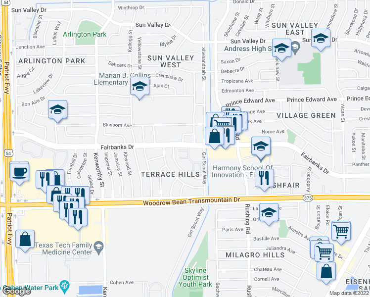map of restaurants, bars, coffee shops, grocery stores, and more near 5020 Fairbanks Drive in El Paso