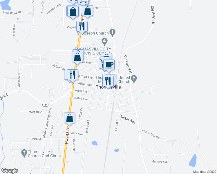 map of restaurants, bars, coffee shops, grocery stores, and more near in Thomasville