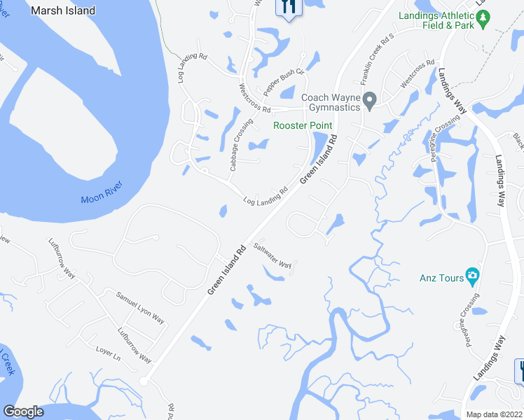 map of restaurants, bars, coffee shops, grocery stores, and more near 45 Log Landing Road in Savannah