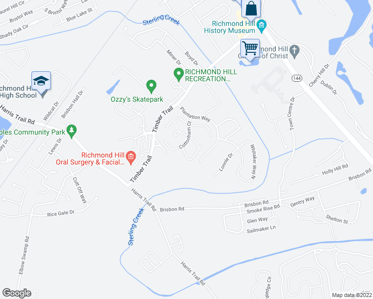 map of restaurants, bars, coffee shops, grocery stores, and more near 25 Tupelo Trail in Richmond Hill