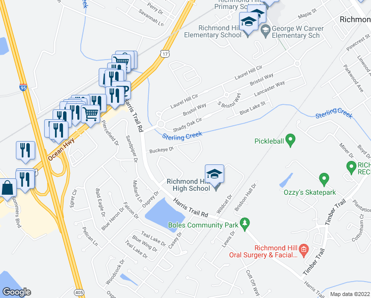 map of restaurants, bars, coffee shops, grocery stores, and more near 401 Buckeye Drive in Richmond Hill
