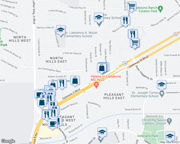 map of restaurants, bars, coffee shops, grocery stores, and more near 10889 Duster Drive in El Paso