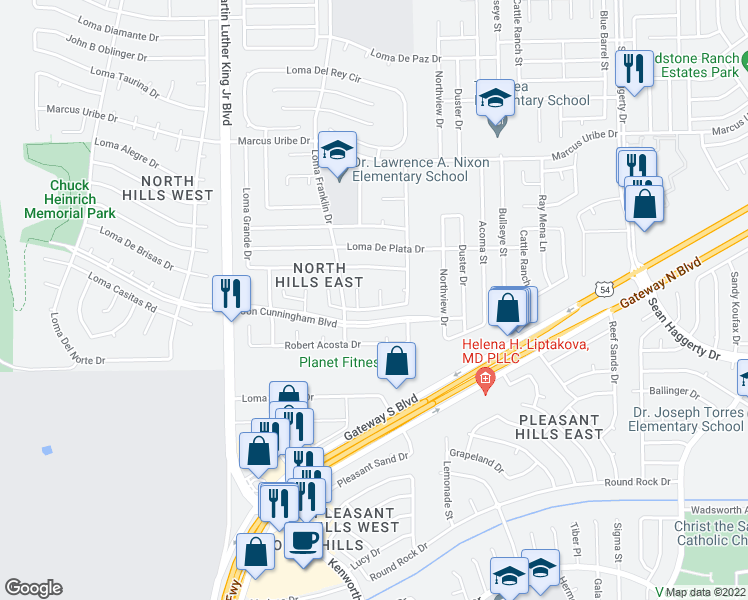 map of restaurants, bars, coffee shops, grocery stores, and more near 10905 Loma De Rio Place in El Paso