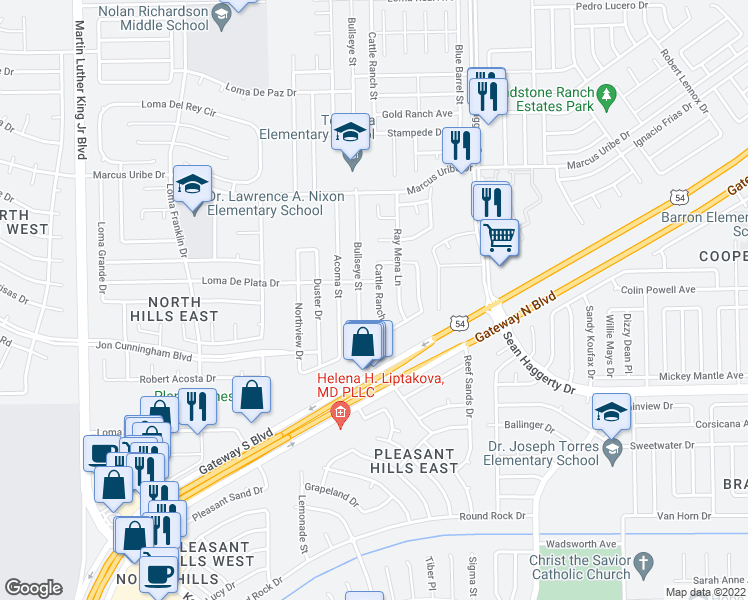map of restaurants, bars, coffee shops, grocery stores, and more near 10960 Bullseye Street in El Paso