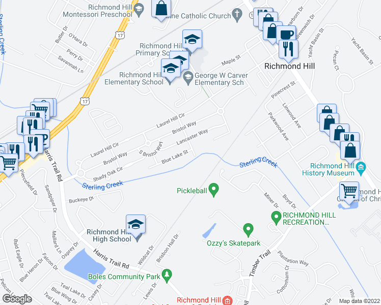 map of restaurants, bars, coffee shops, grocery stores, and more near 509 Golden Grove Lane in Richmond Hill