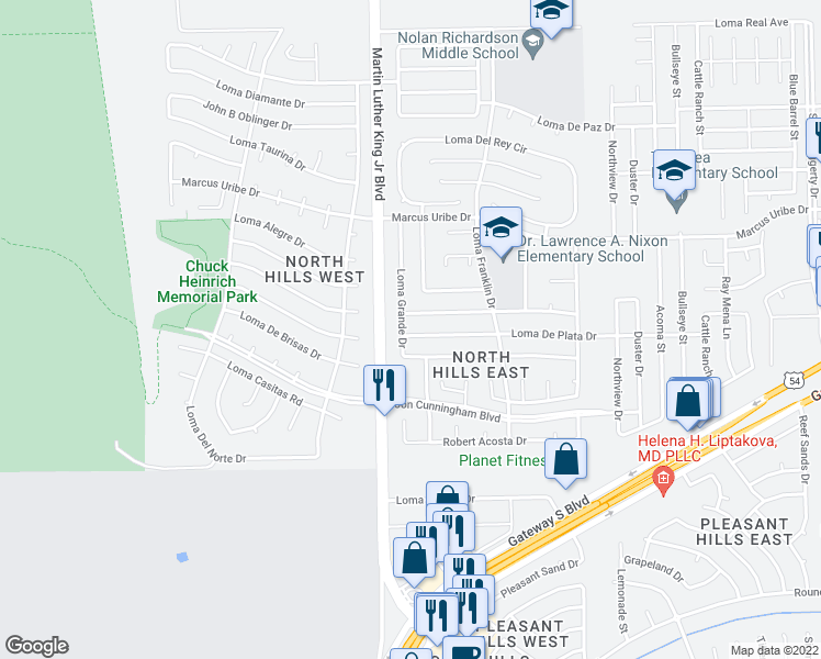 map of restaurants, bars, coffee shops, grocery stores, and more near 4505 Loma De Plata Drive in El Paso