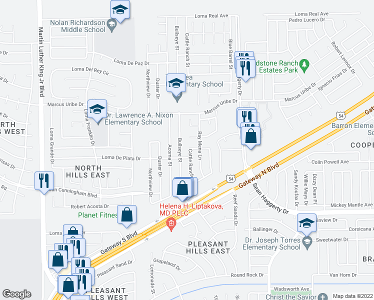 map of restaurants, bars, coffee shops, grocery stores, and more near 11013 Cattle Ranch Street in El Paso