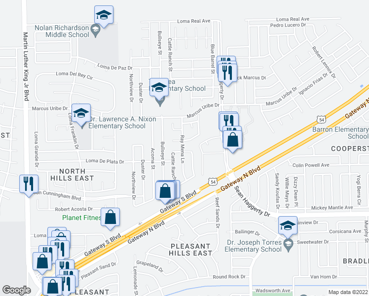 map of restaurants, bars, coffee shops, grocery stores, and more near 11041 Coyote Ranch Lane in El Paso