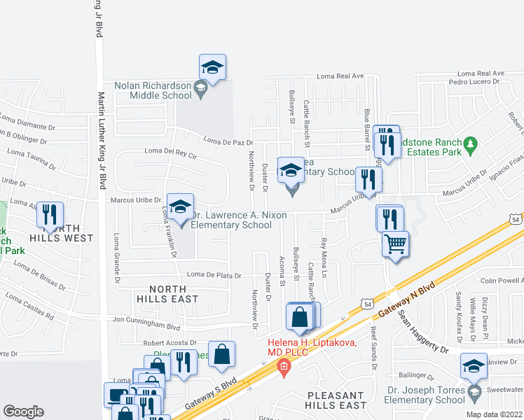 map of restaurants, bars, coffee shops, grocery stores, and more near 11201 Duster Drive in El Paso
