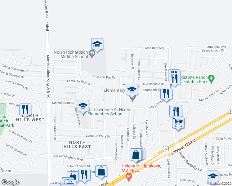 map of restaurants, bars, coffee shops, grocery stores, and more near 11248 Northview Drive in El Paso