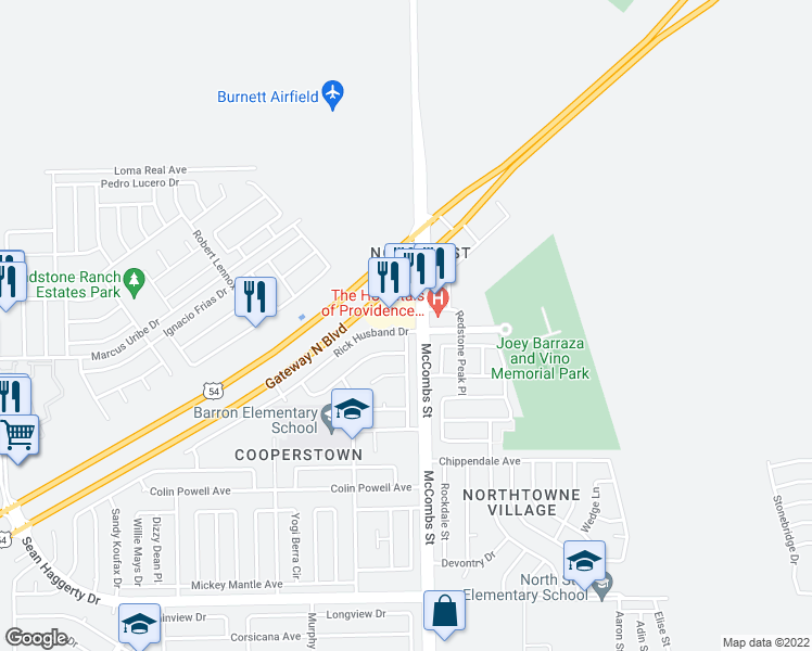 map of restaurants, bars, coffee shops, grocery stores, and more near 5789 Rick Husband Drive in El Paso