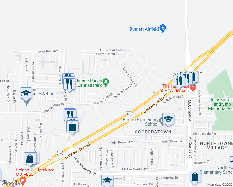 map of restaurants, bars, coffee shops, grocery stores, and more near 5425 Ignacio Frias Drive in El Paso