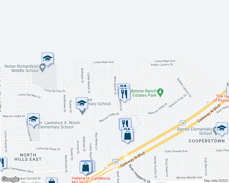 map of restaurants, bars, coffee shops, grocery stores, and more near 4945 Silver Ranch Avenue in El Paso