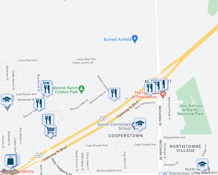 map of restaurants, bars, coffee shops, grocery stores, and more near 5505 Ignacio Frias Drive in El Paso