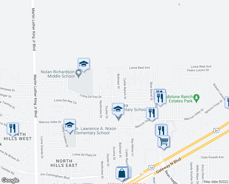 map of restaurants, bars, coffee shops, grocery stores, and more near 11312 Acoma Street in El Paso