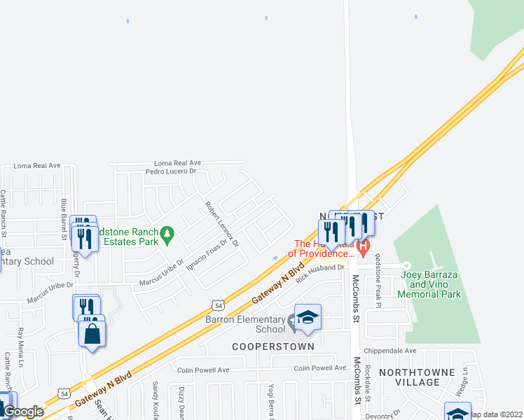 map of restaurants, bars, coffee shops, grocery stores, and more near 5557 Ignacio Frias Drive in El Paso