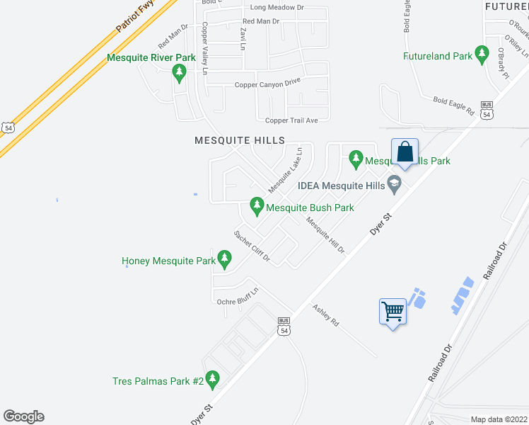 map of restaurants, bars, coffee shops, grocery stores, and more near 11805 Mesquite Bush Drive in El Paso