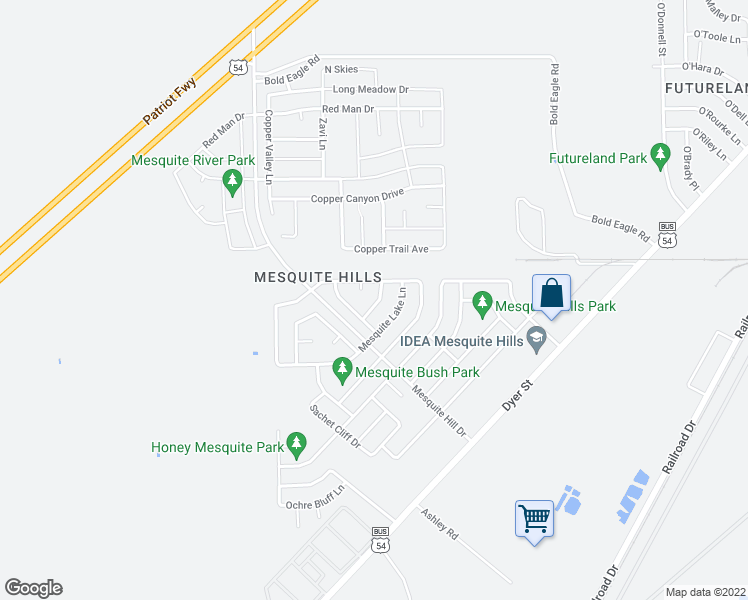 map of restaurants, bars, coffee shops, grocery stores, and more near 11957 Mesquite Gum Lane in El Paso