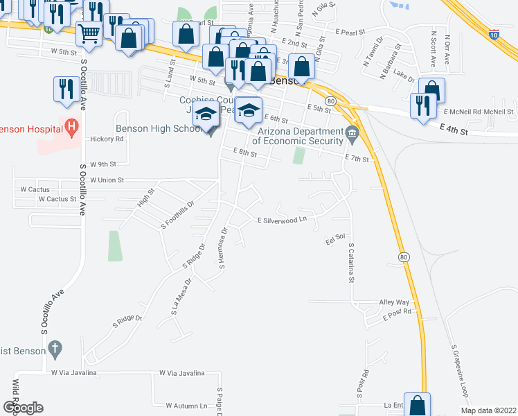 map of restaurants, bars, coffee shops, grocery stores, and more near 652 Mesquite Street in Benson