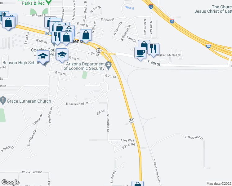 map of restaurants, bars, coffee shops, grocery stores, and more near 656 Highway 80 in Benson