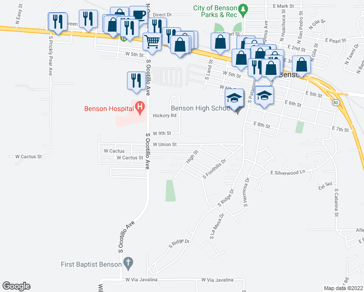 map of restaurants, bars, coffee shops, grocery stores, and more near 445 West Union Street in Benson