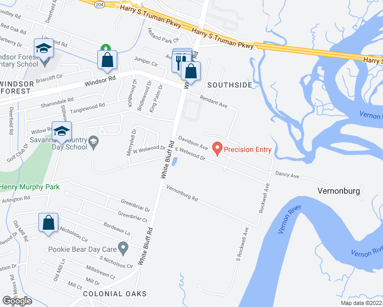 map of restaurants, bars, coffee shops, grocery stores, and more near 21 East Welwood Drive in Savannah
