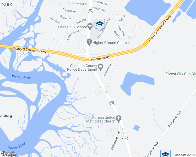map of restaurants, bars, coffee shops, grocery stores, and more near Whitefield Avenue in Savannah