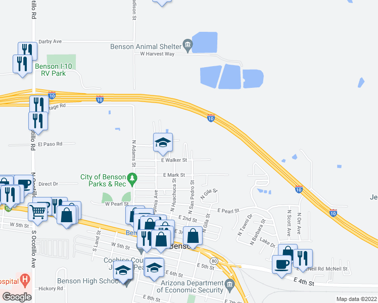 map of restaurants, bars, coffee shops, grocery stores, and more near 590 North San Pedro Street in Benson