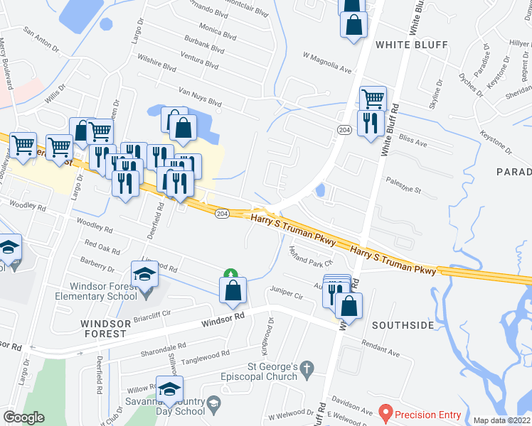 map of restaurants, bars, coffee shops, grocery stores, and more near 249 Holland Drive in Savannah