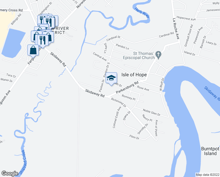 map of restaurants, bars, coffee shops, grocery stores, and more near 100 Parkersburg Road in Savannah