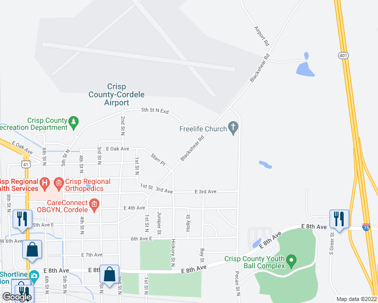 map of restaurants, bars, coffee shops, grocery stores, and more near 1110 Blackshear Road in Cordele
