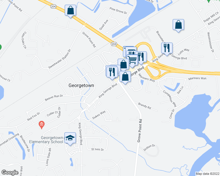 map of restaurants, bars, coffee shops, grocery stores, and more near 1200 King George Boulevard in Savannah