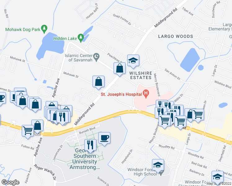 map of restaurants, bars, coffee shops, grocery stores, and more near 920 Mohawk Street in Savannah