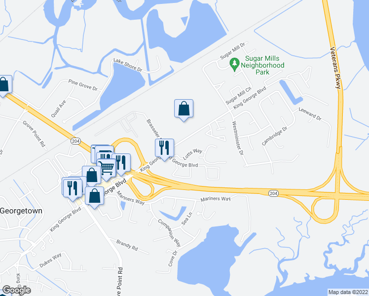 map of restaurants, bars, coffee shops, grocery stores, and more near Lotts Way in Savannah