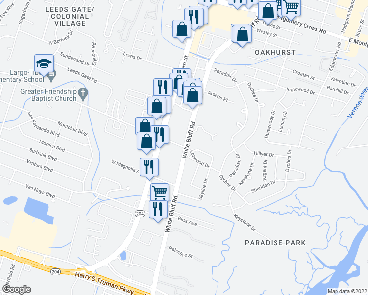 map of restaurants, bars, coffee shops, grocery stores, and more near 10145-10329 White Bluff Road in Savannah