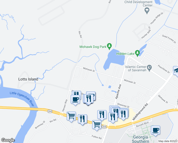 map of restaurants, bars, coffee shops, grocery stores, and more near 1159 Mohawk Street in Savannah