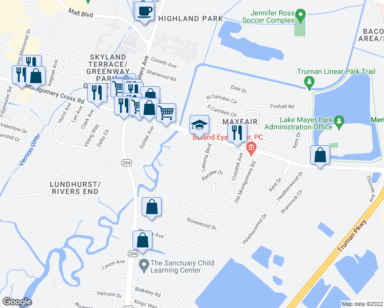 map of restaurants, bars, coffee shops, grocery stores, and more near 8400-8436 Whitefield Ave in Savannah