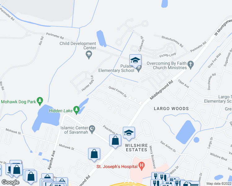 map of restaurants, bars, coffee shops, grocery stores, and more near 39 Quail Forest Drive in Savannah