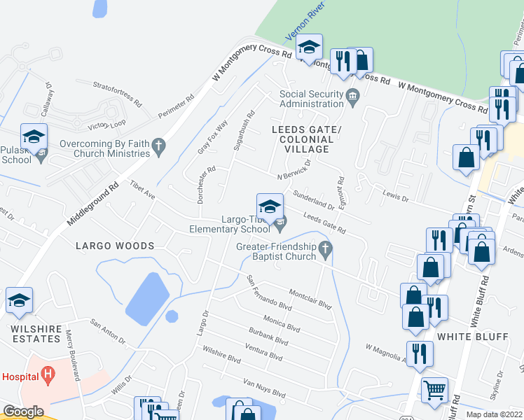 map of restaurants, bars, coffee shops, grocery stores, and more near 10703 Leeds Gate Road in Savannah