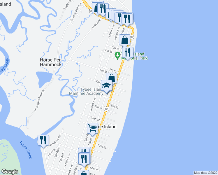 map of restaurants, bars, coffee shops, grocery stores, and more near 701 2nd Avenue in Tybee Island